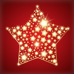Star made with golden stars. Vector