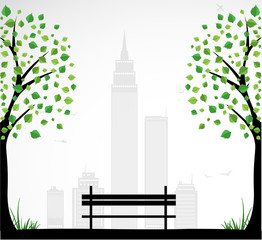 City theme Background with abstract tree. Vector