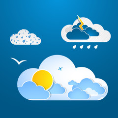 Weather in cloud. Vector.