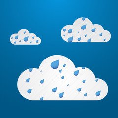 Weather in cloud. Vector. Rain theme