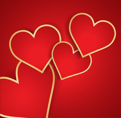 Red heart with golden border. Vector.