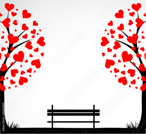 Abstract tree made with hearts with bench. Vector