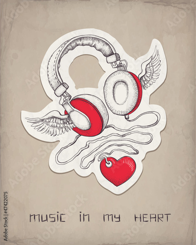 Headphones with wings and heart