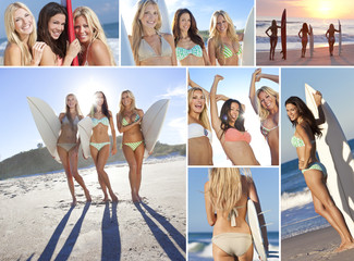 Montage Three Young Women on a Beach with Surfboards
