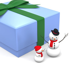 snowman and his baby and happy gift