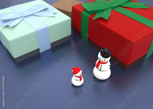 snowman and giftbox