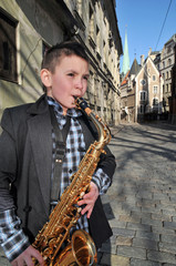 Saxophonist on the old town
