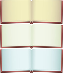 Blank opened book set on white.