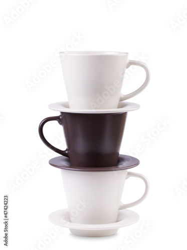 Three  coffee cups stacked together