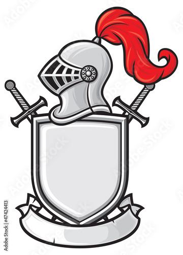 medieval knight helmet, shield, crossed swords and banner
