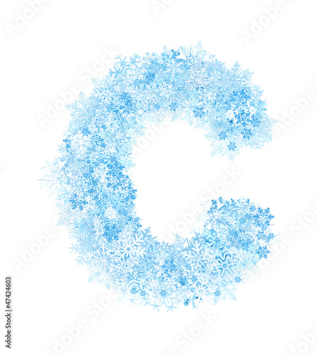 Letter C, frosty snowflakes - 47424603