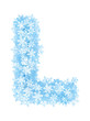 Letter L, frosty snowflakes