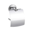 Metallic chrome tissue paper holder isolates on white