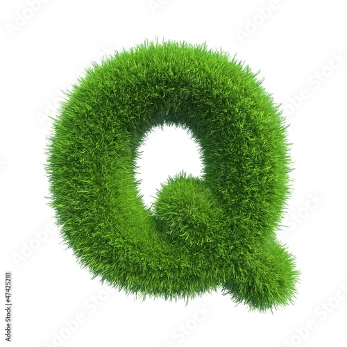 grass letter Q isolated on white background