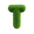 grass letter T isolated on white background
