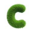 grass letter C isolated on white background