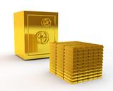 Fototapety safe and gold ingots