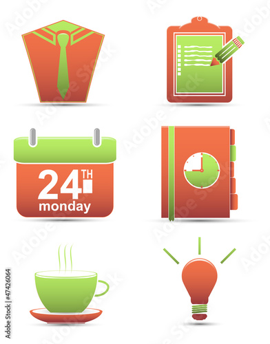 Vector set  color icons. time management and business