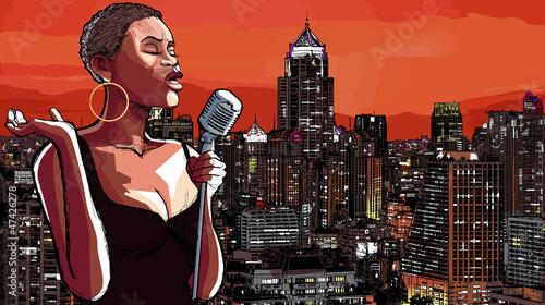 Poster Muziekband jazz singer