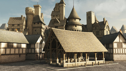 Medieval or Fantasy Town Marketplace