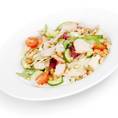 salad with pork and chicken. isolated on white background