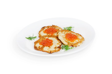 potato pancakes with red caviar. isolated on white background