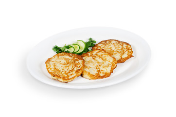 potato pancakes with a pig. isolated on white background