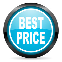 best price blue glossy circle icon on white background