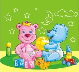 Ursinhos brincando