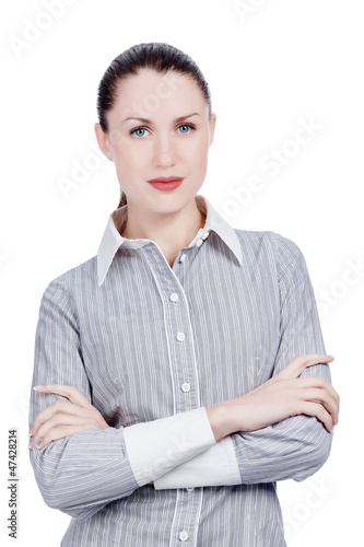 confident young lady posing against white background