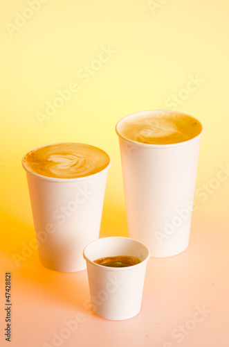 Group of coffee drinks