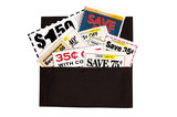 Dark Brown Cloth Wallet Full of Coupons