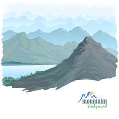 Long Mountain Range and  River