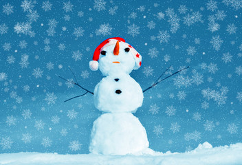 Snow man in santa cap on nature