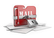 Secure mail data. Email concept. 3D icon isolated white