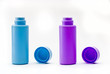 Blue and violet baby powder bottles