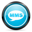 mms blue glossy circle icon on white background