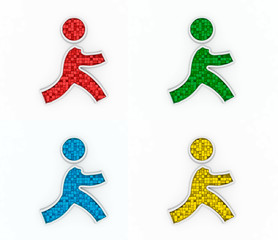 3D color icons of running figure