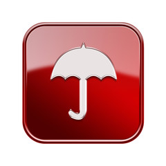 Umbrella icon glossy red, isolated on white background
