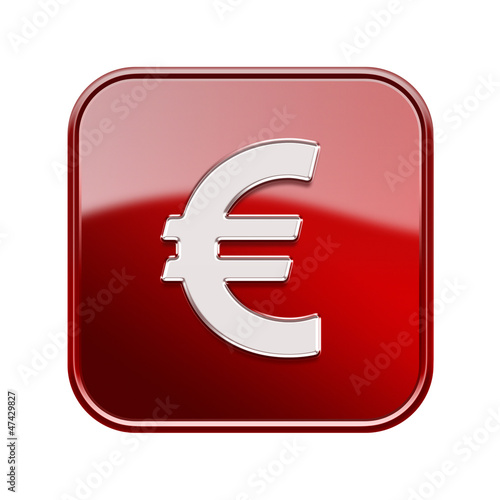 Euro icon glossy red, isolated on white background
