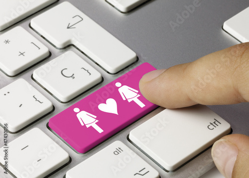 Lesbian couple keyboard key. Finger