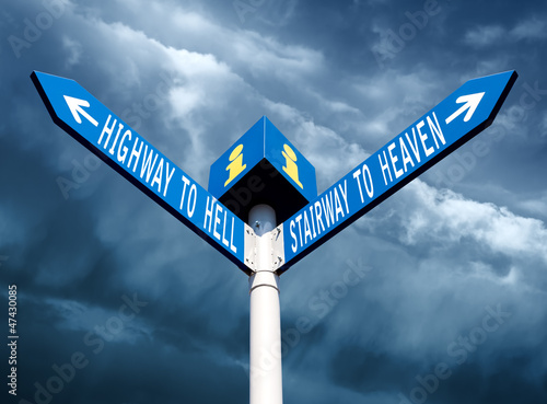 Hell and heaven road signs
