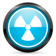radiation blue glossy circle icon on white background