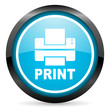 print blue glossy circle icon on white background