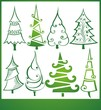Set of various Christmas trees