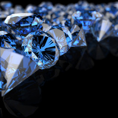 blue diamonds on black