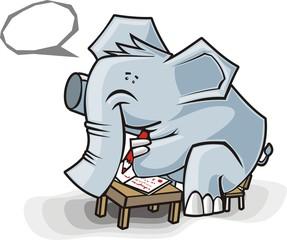 elefante vai a escola
