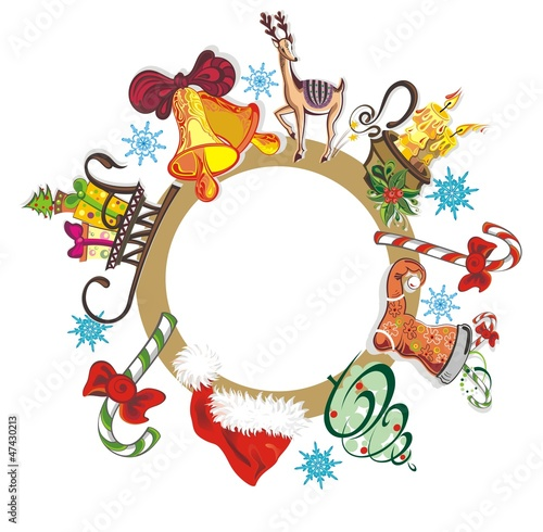 Elegant Christmas wreath with elements