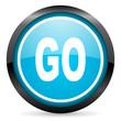 go blue glossy circle icon on white background