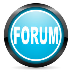 forum blue glossy circle icon on white background
